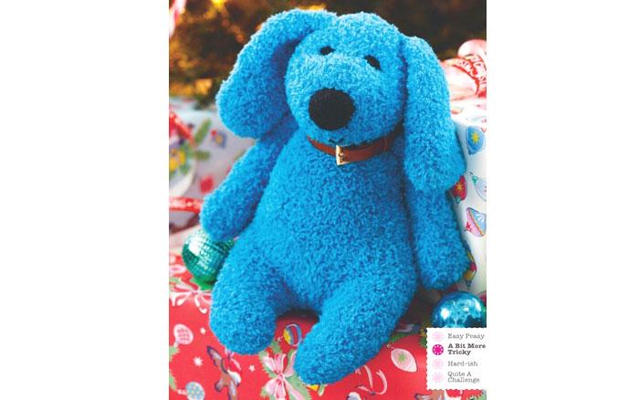 Вязаный голубой плюшевый щенок. Схема