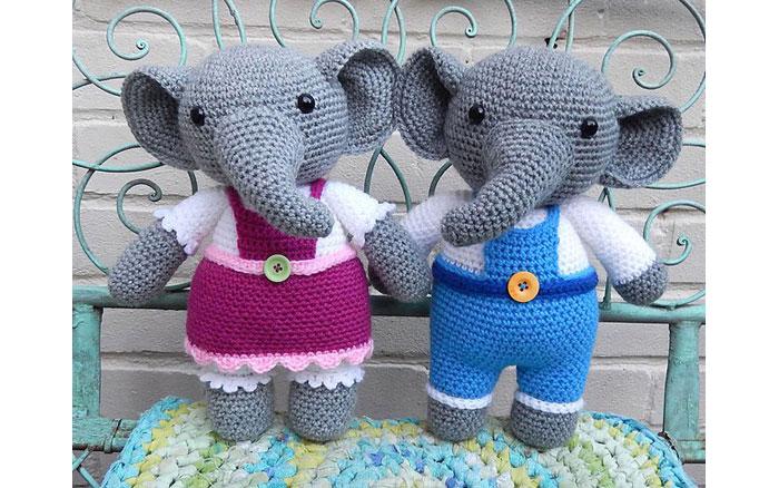 Вязаные слоники Элеонора и Элайдж